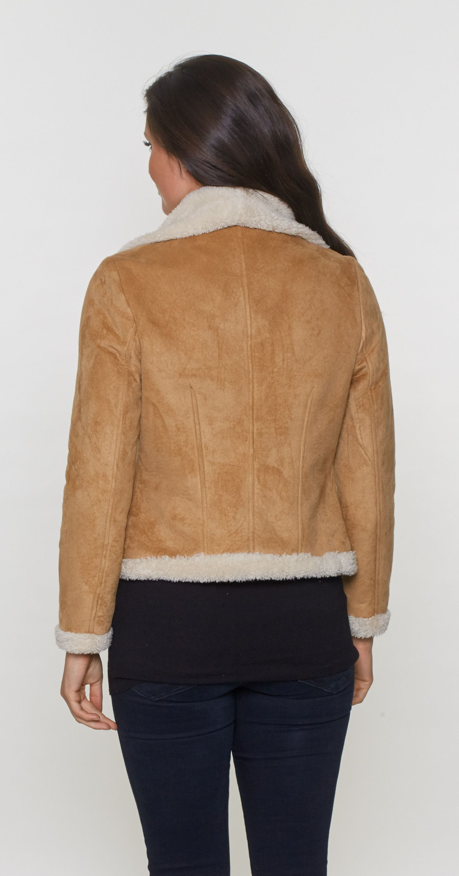 Womens Faux Sheepskin Bomber Jacket